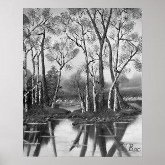 Magical Birch Bay Lagoon In Black & White Poster
