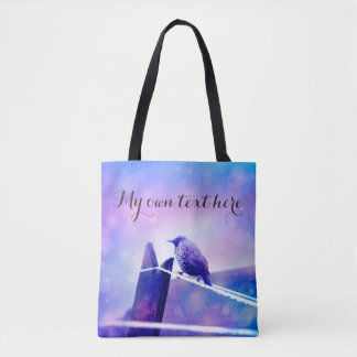 Magical bird tote bag with your own text