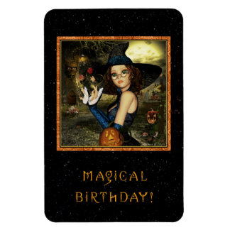Magical Birthday Cute Witch Flexi Magnet