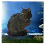 "Magical Black Cat Ceramic Tile<br><div class=""desc"">Decorative ceramic tile with magical black cat design.</div>"