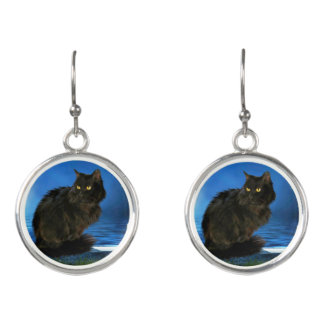 Magical Black Cat Earrings