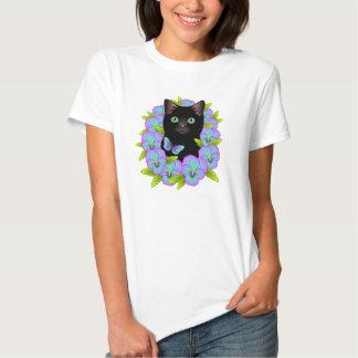 Magical Black Cat Good Luck Pansy Butterfly shirt