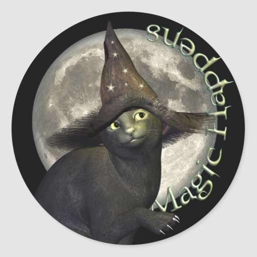 Magical Black Cat Round Stickers