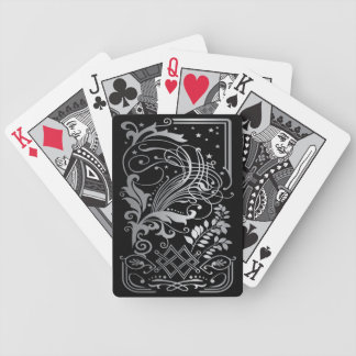 Magical Black Damask Lace Bicycle Playing Cards