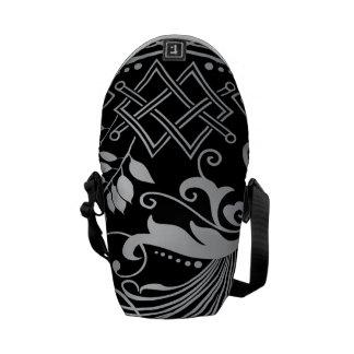 Magical Black Damask Lace Messenger Bag