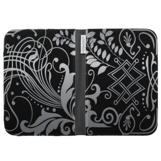 Magical Black Demask Lace Kindle Keyboard Cases