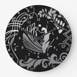 Magical Black Demask Lace Large Clock