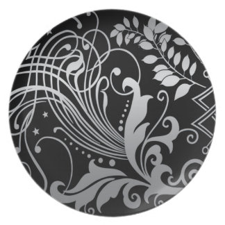 Magical Black Demask Lace Plate