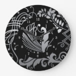 Magical Black Demask Lace Round Wall Clock