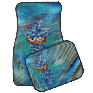 Magical Blue Plumage Fashion Owl Car Mats Set