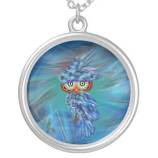Magical Blue Plumage Fashion Owl Car Mirror Mojo Silver Plated Necklace