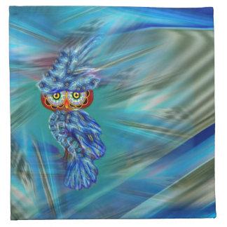 Magical Blue Plumage Fashion Owl Cloth Napkin