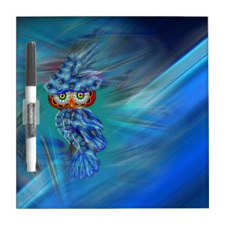 Magical Blue Plumage Fashion Owl Dry Erase Board