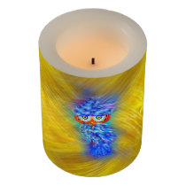 Magical Blue Plumage Fashion Owl Flameless Candle