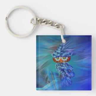 Magical Blue Plumage Fashion Owl Keychain