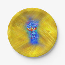 Magical Blue Plumage Fashion Owl Paper Plate