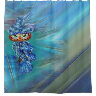 Magical Blue Plumage Fashion Owl Shower Curtain