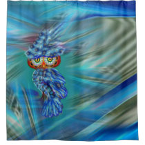 Magical Blue Plumage Fashion Owl Shower Curtain