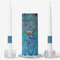 Magical Blue Plumage Fashion Owl Unity Candle Set