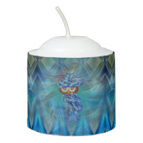 Magical Blue Plumage Fashion Owl Votive Candle
