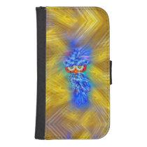 Magical Blue Plumage Fashion Owl Wallet Case