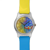 Magical Blue Plumage Fashion Owl Wristwatch