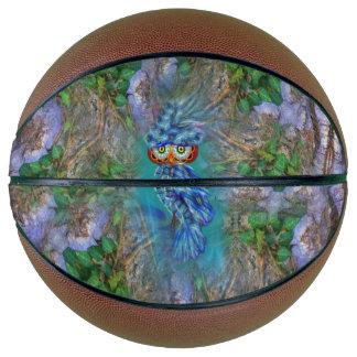 Magical Blue Plumage Owl Tree Bark Basketball