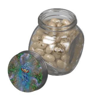 Magical Blue Plumage Owl Tree Bark Candy Glas Jar Glass Candy Jar