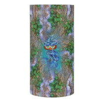 Magical Blue Plumage Owl Tree Bark LED Candle