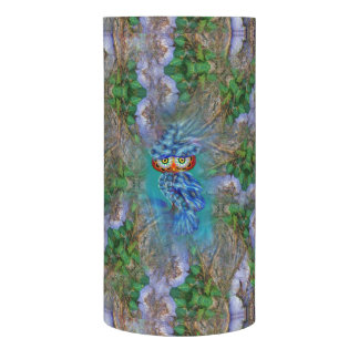 Magical Blue Plumage Owl Tree Bark LED Candle