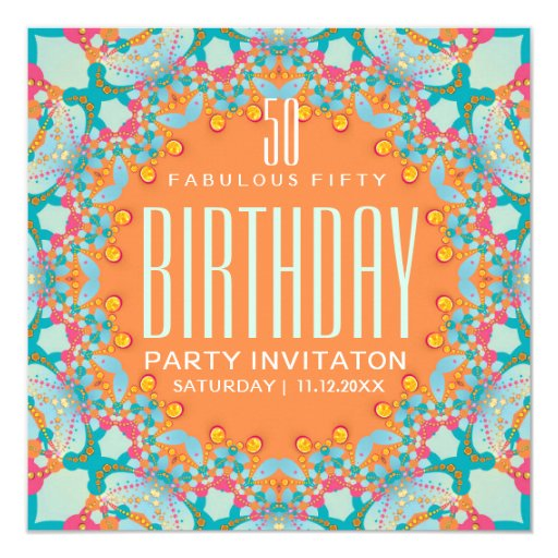 Magical Bohemian  50th Birthday Invitations