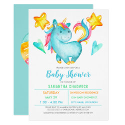 Magical Boys Unicorn Baby Shower Invitation