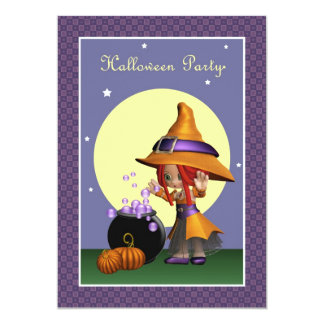 Magical Bubbles Witch Halloween Party Invitation