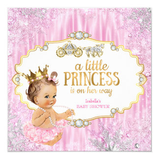 Magical Carriage Princess Baby Shower Pink Card
