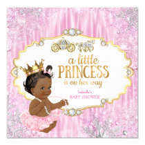 Magical Carriage Princess Baby Shower Pink Ethnic Card