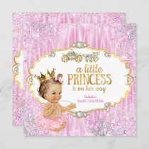 Magical Carriage Princess Baby Shower Pink Invitation