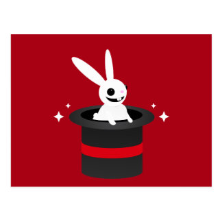 Magical Cartoon Rabbit Hat Postcard