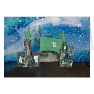 Magical castle  on starry night card