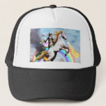 "Magical Cat &amp; Unicorn Trucker Hat<br><div class=""desc"">This trucker hat features an awesome ninja cat riding a fiery unicorn across a magical rainbow.</div>"