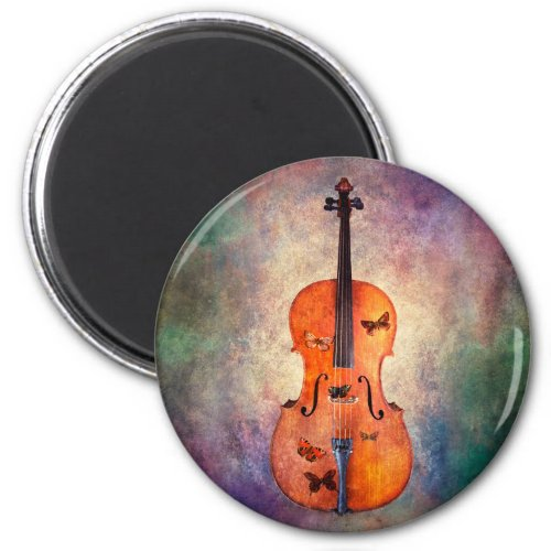 Magical Cello with Butterflies Round Magnet