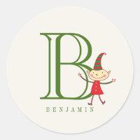 Magical Christmas Elf Monogram Holiday Sticker