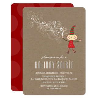 Magical Christmas Elf Rustic Holiday Party Invite