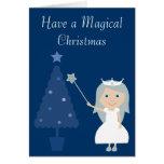 Magical Christmas Fairy Princess & Tree Blue Card