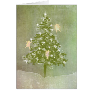 Magical Christmas, Tree & Fairies Card