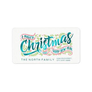 Magical Christmas Typography Horizontal TealID441 Label