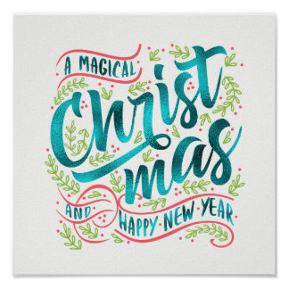 Magical Christmas Typography Teal ID441 Poster