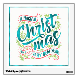 Magical Christmas Typography Teal ID441 Wall Sticker