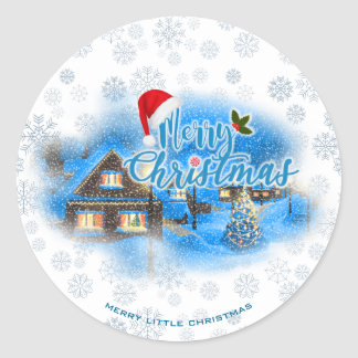Magical Christmas Village Classic Round Sticker
