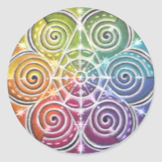 Magical Color Wheel Mandala Round Stickers