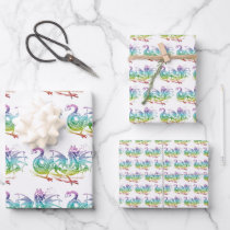 Magical Dragon Pastel Pattern Theme Wrapping Paper Sheets